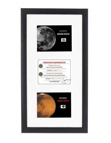 Cadre Avec d'Authentiques Morceaux de la Lune et de Mars